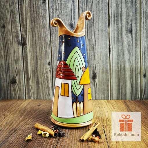 керамична ваза за цветя къщички