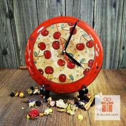 керамичен часовник черешки голям