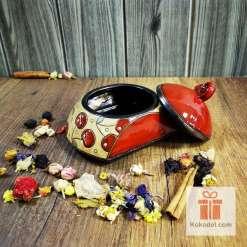 керамична кутийка-захарница черешки