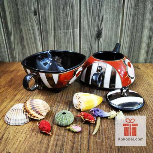 керамичен чайник чаша котка