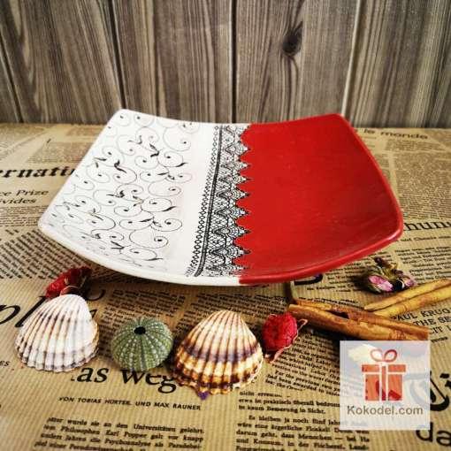 Керамична чиния Елеганс - голяма червена
