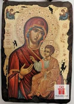 Рисувана икона 01 Св. Богородица с младенеца (с архангели)