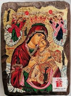 Рисувана икона 013 Св. Богородица с младенеца (с архангели)