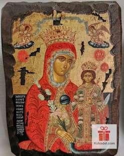 Рисувана икона 014 Св. Богородица с младенеца (с архангели)