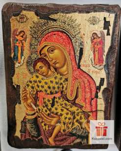 Рисувана икона 015 Св. Богородица с младенеца (с архангели)