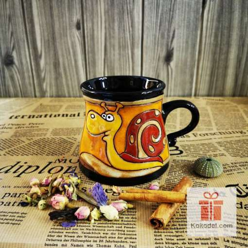 Забавна керамична чаша Охлюв