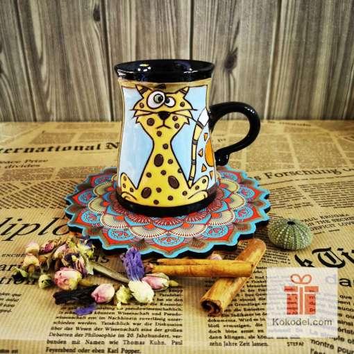 Забавна керамична чаша Леопард