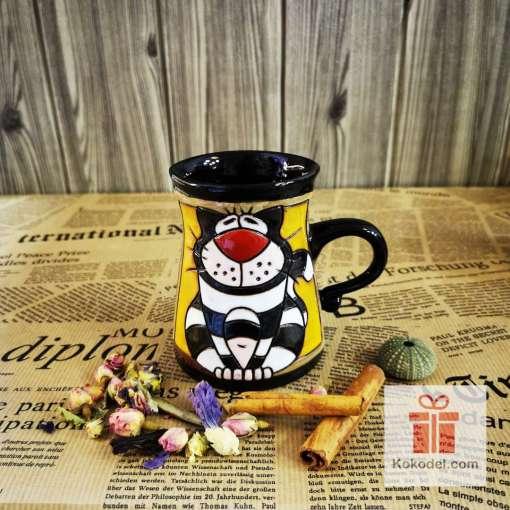 Забавна керамична чаша Котка райе
