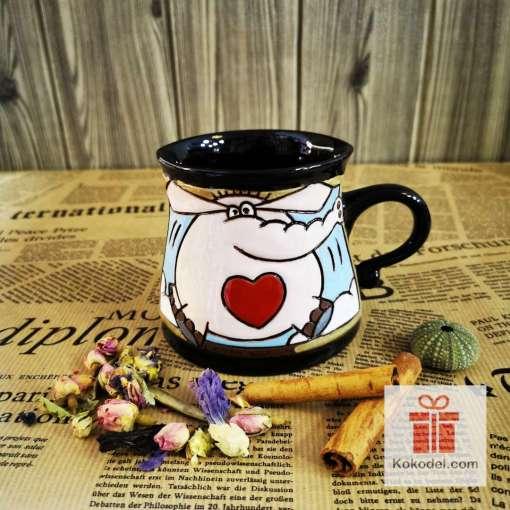 Забавна керамична чаша Слонче-сърчице