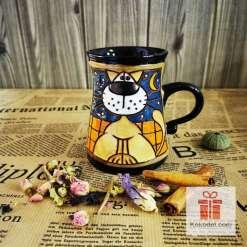 Забавна керамична чаша Котка на покрив