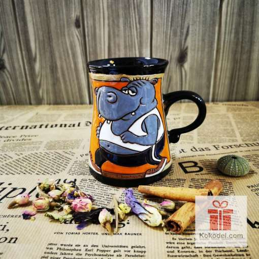 Забавна керамична чаша Хипопотам спортист
