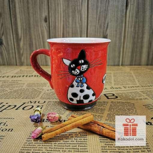 Арт керамична чаша Коте на точки 1