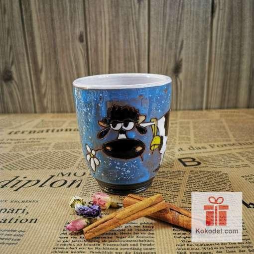Арт синя чаша Крава