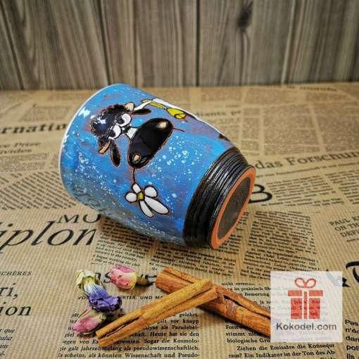 Арт керамична синя чаша Крава