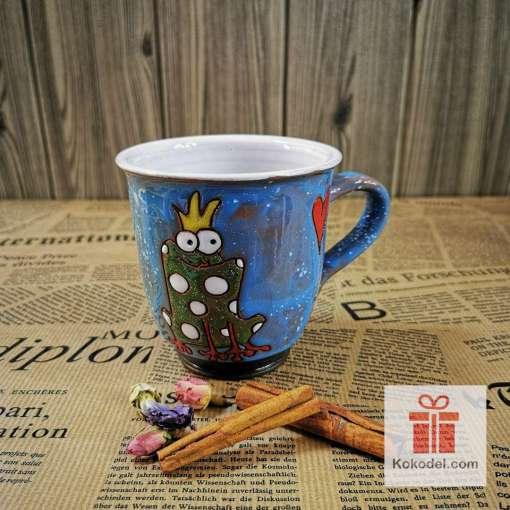 Арт керамична синя чаша Жаба кралица