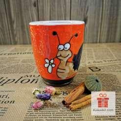 Арт керамична оранжева чаша Охлюв