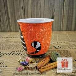 Арт оранжева чаша Котка райе