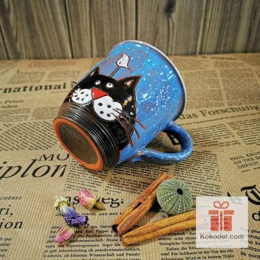 Арт керамична синя чаша Коте и птица