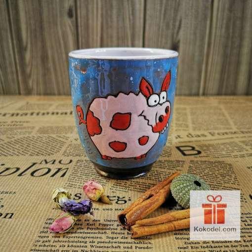 Арт керамична синя чаша Прасенце