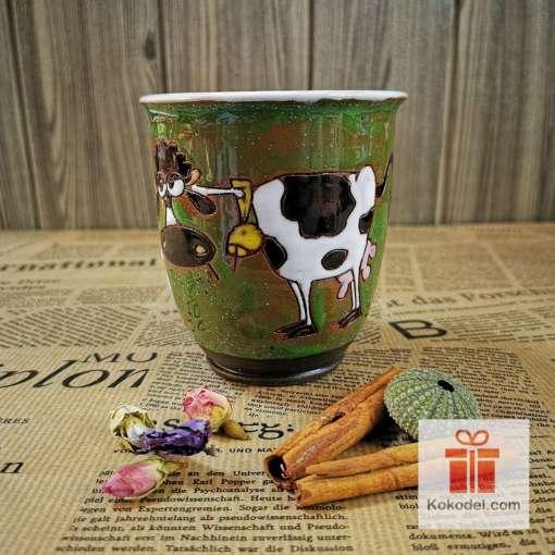 Арт зелена чаша Крава