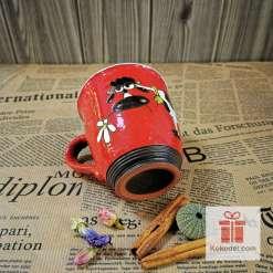 Арт керамична червена чаша Крава