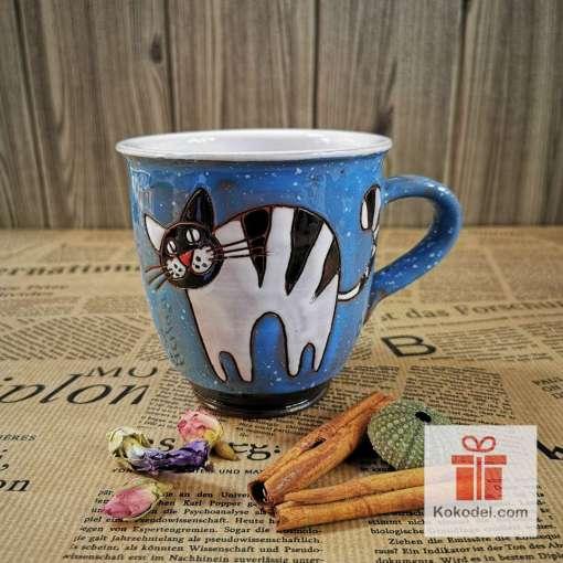 Арт синя чаша Котенце