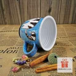 Арт керамична синя чаша Котенце