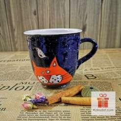 Арт керамична чаша Коте и птица - нощ