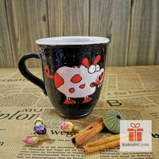 Арт керамична чаша Прасенце - нощ