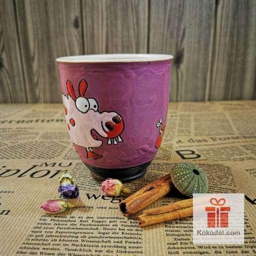 Арт керамична розова чаша Прасчо