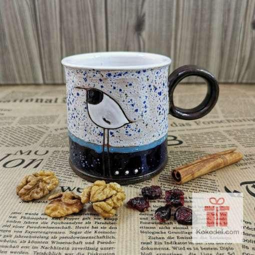 Арт керамична чаша Птичка - ден
