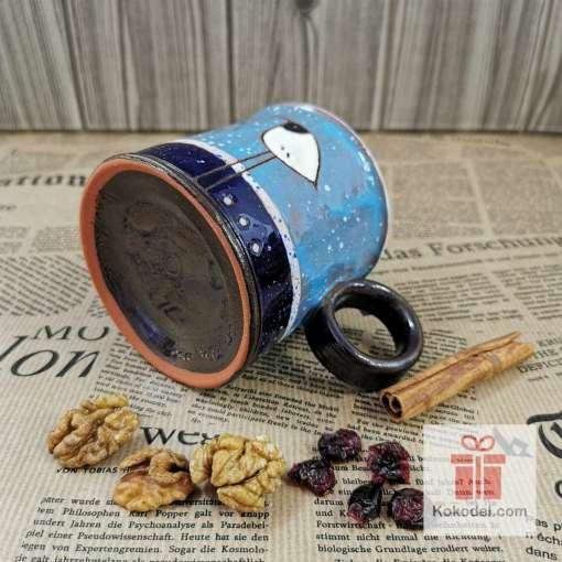Арт керамична чаша Птичка - нощ