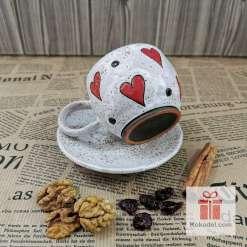 Керамична чаша за еспресо - Любов - бяла