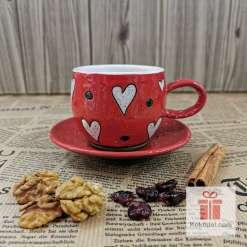 Керамична чаша за еспресо - Любов - червена