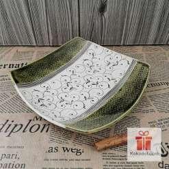 Керамична чиния Елеганс - голяма зелена