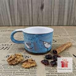 Керамична чаша за еспресо - Птички - тюркоаз