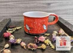 Керамична чаша за еспресо - Птички - оранж