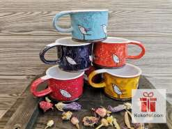 Керамична чаша за еспресо - Птички - червена