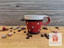 Керамична чаша за еспресо - ТОЧКИ - червена
