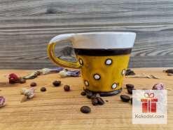 Керамична чаша за еспресо - ТОЧКИ - жълта