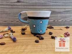 Керамична чаша за еспресо - ТОЧКИ - синя