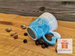 Смачкана порцеланова чаша за еспресо - синя