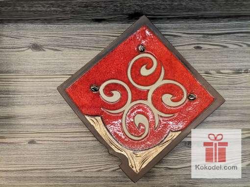 Керамична червена чиния - Ориент