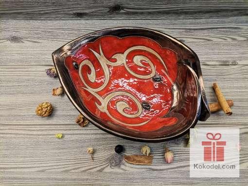 Керамична червена фруктиера - голямо листо - Ориент