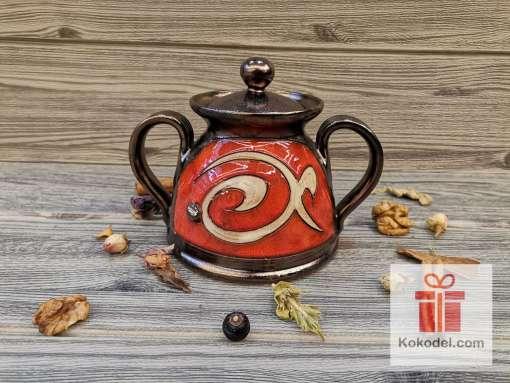 Червена керамична захарница - Ориент
