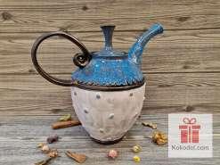 Керамичен чайник Бяло и синьо
