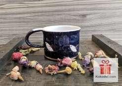 Керамична чаша за еспресо - Птички - нощ