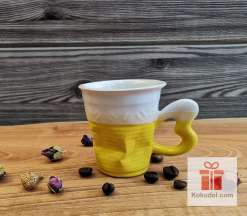 Смачкана порцеланова чаша за еспресо - жълта
