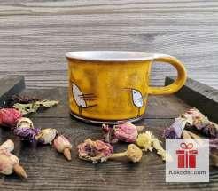 Керамична чаша за еспресо - Птички - жълта