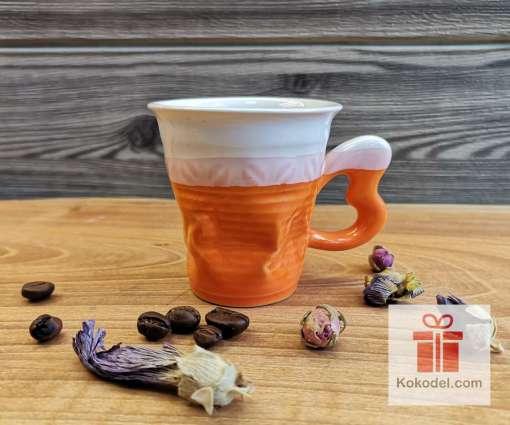 Смачкана порцеланова чаша за еспресо - оранжева